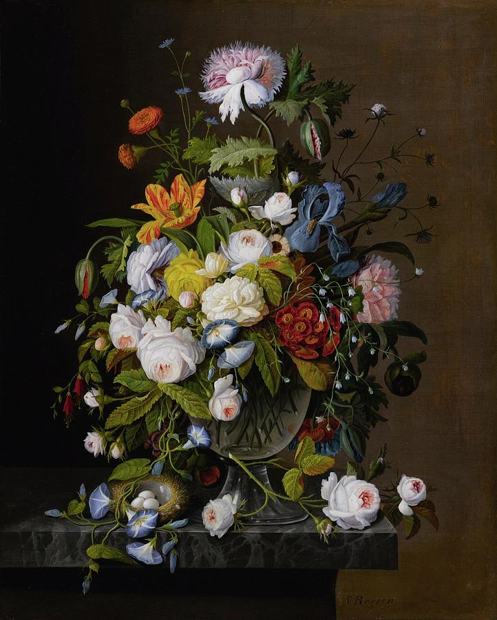 Floral Still Life With Bird Nest Painting