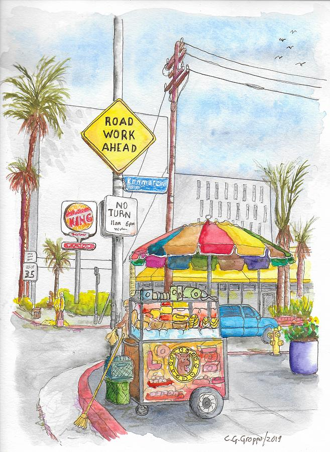 Fruit Cart In Sunset Blvd. And Kenmore Ave., In Hollywood, California Painting