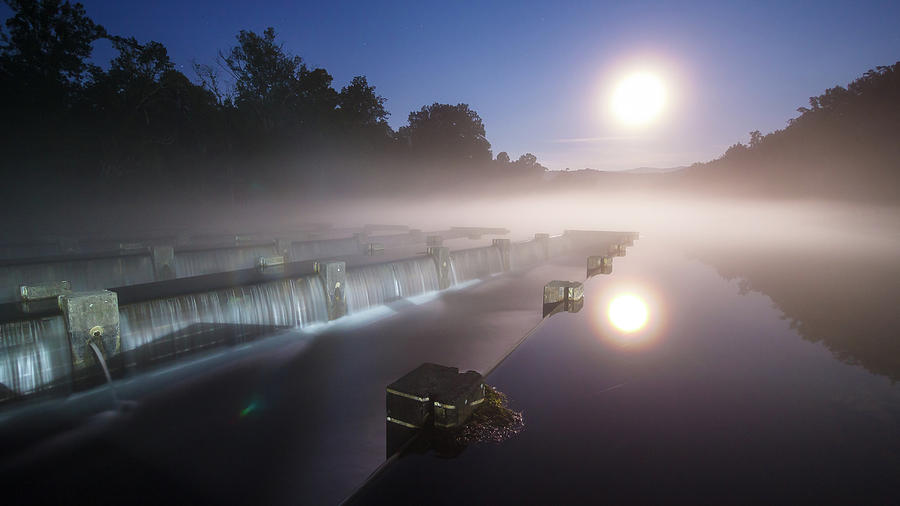 Full Moon Summer Night At The Weir Dam Photograph