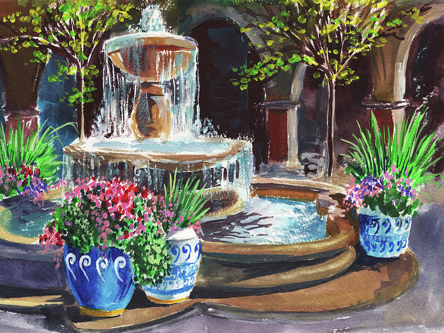 Garden Fountain Impressionism In Watercolor And Gouache Painting