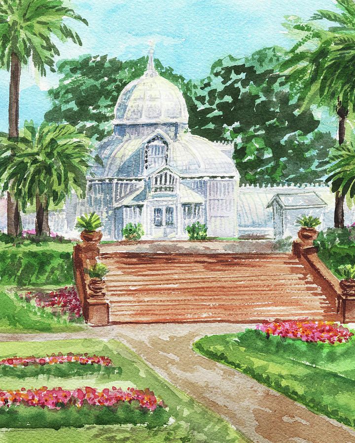 Golden Gate Park Conservatory Of Flowers Watercolor Painting