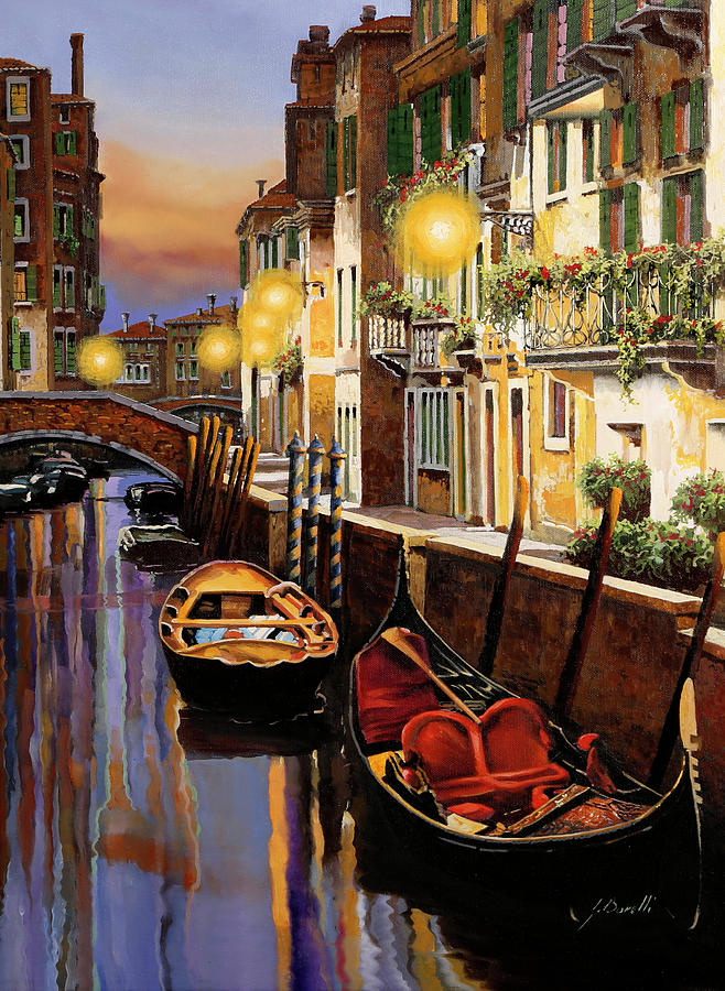 Gondola Al Crepuscolo Painting
