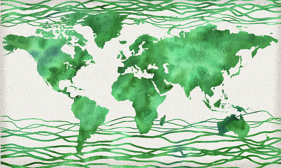 Green Wave Watercolor Map Of The World Painting