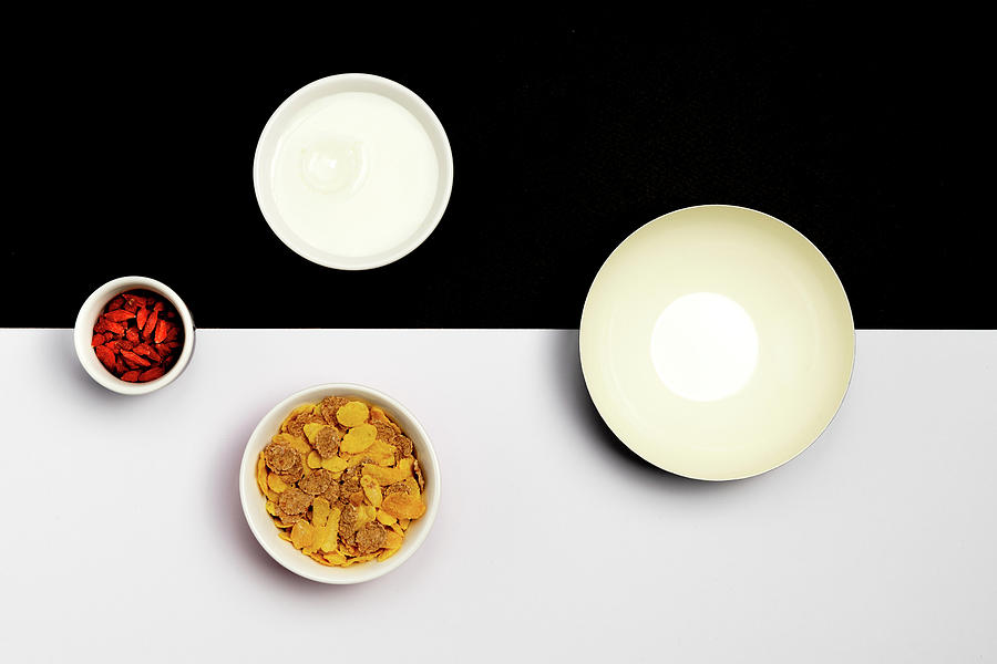 Group Ceramic Bowls With Healthy Cereal Breakfast Photograph