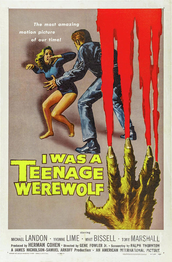 I Was A Teenage Werewolf Movie Poster Drawing