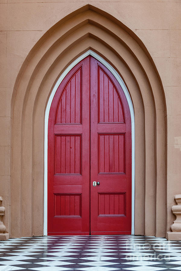 Layers Of Entry - Red Church Door Photograph