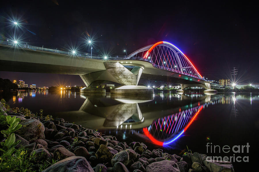 Lowry Ave Bridge In Red And White Photograph
