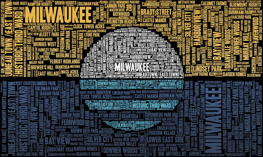 Milwaukee Neighborhood Word Cloud Digital Art