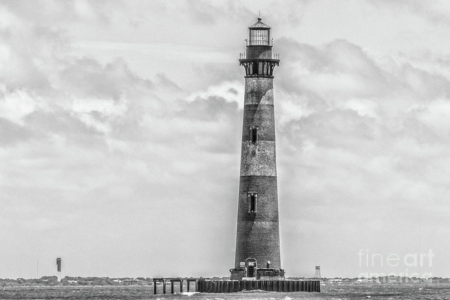 Morris Island Lighthouse - Charleston Monochrome Photograph