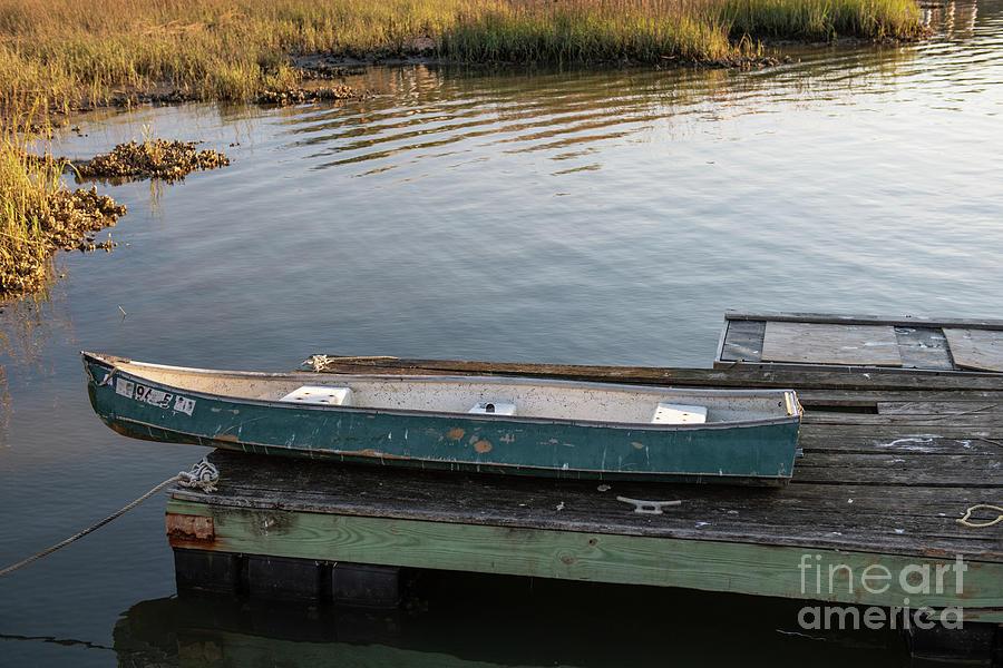 Old Canoe On Dock In Shem Creek Photograph