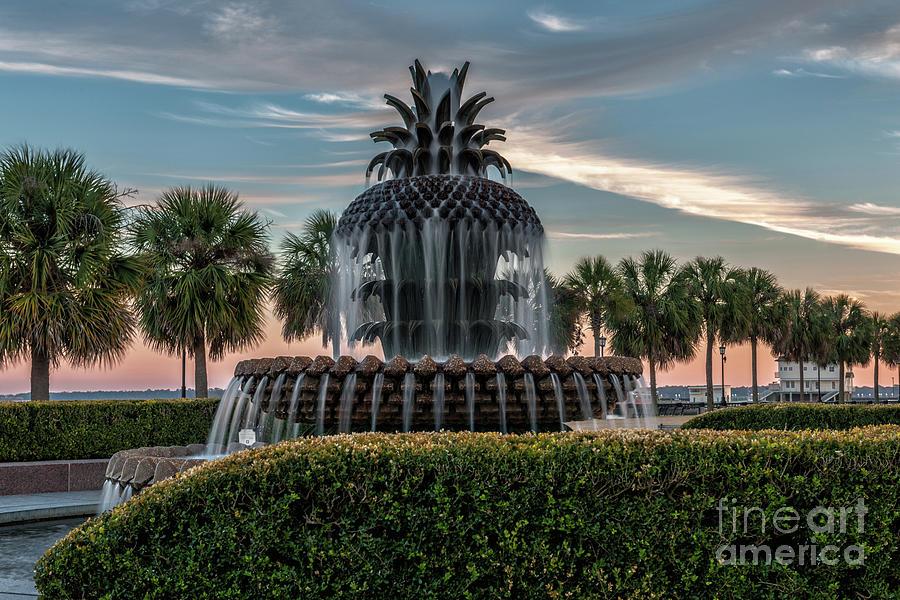 Pineapple Fountain Sunset - Charleston Landmark Photograph