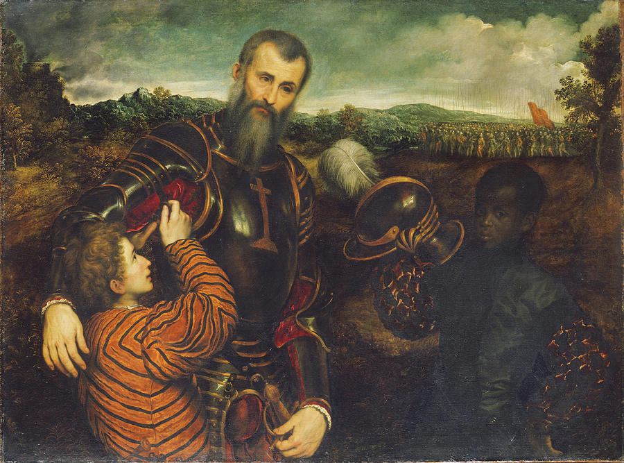 Portrait Of A Man In Armor With Two Pages Painting