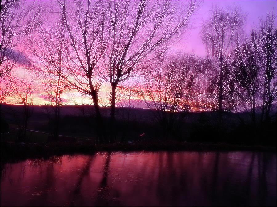 Purple Winter Sunset Over The Lake Photograph