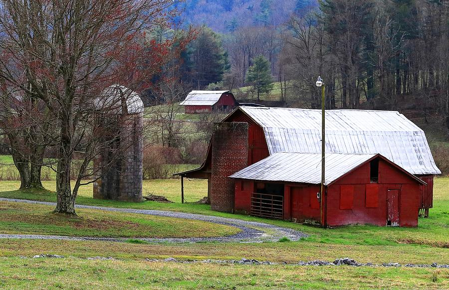 Red Barns In Winter Photograph