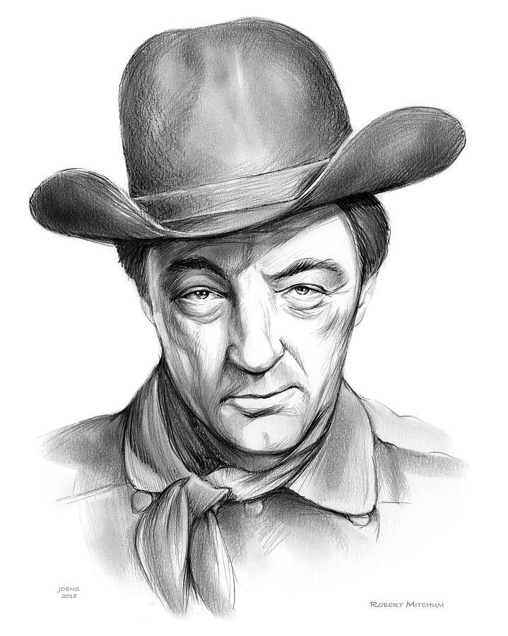 Robert Mitchum Cowboy Drawing
