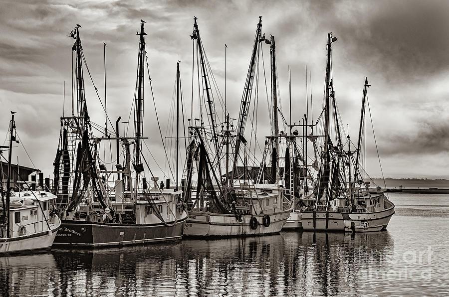 Shem Creek Saltwater Cowboys In Sepia Photograph