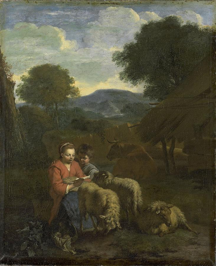 Shepherdess Reading Painting