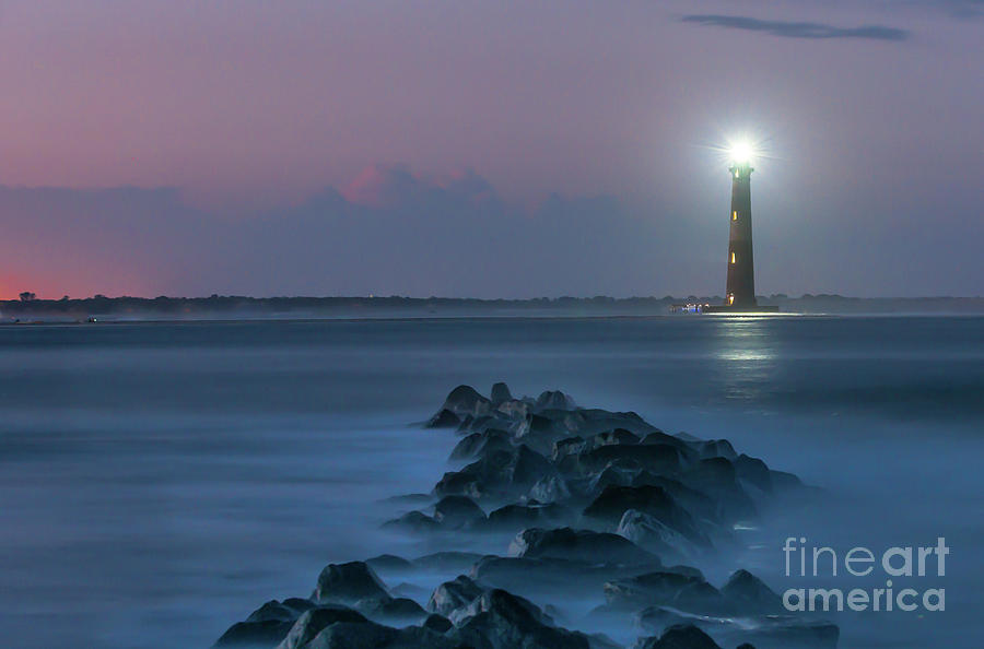 Shining Though The Darkness - Morris Island Lighthouse Photograph