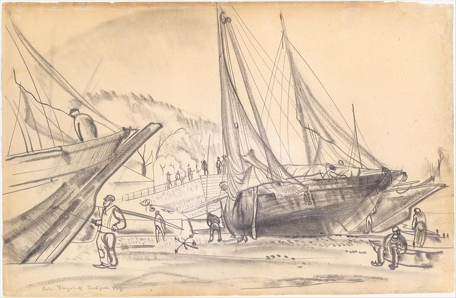 Ships At Dock Painting