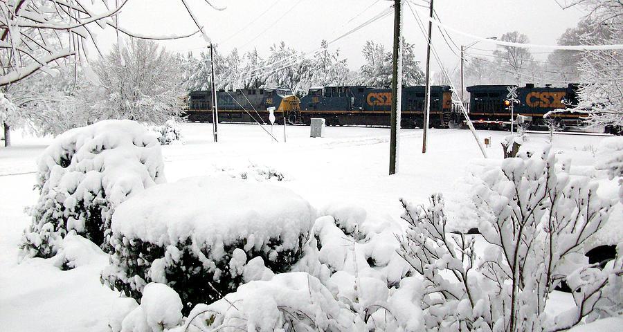 Snowy Day Train Photograph
