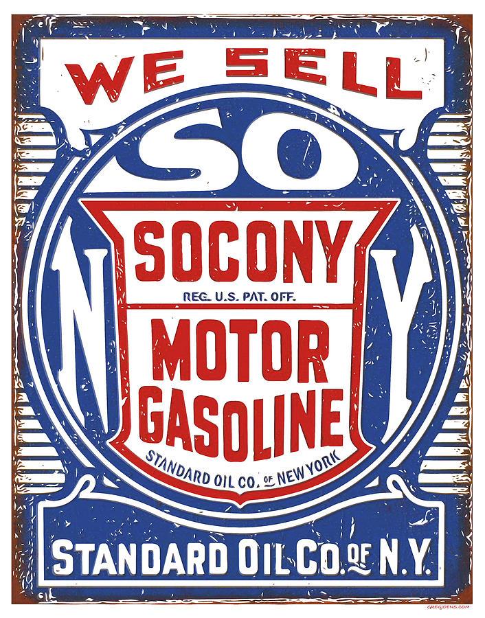 Socony Oil Sign Digital Art