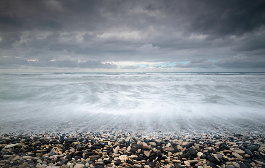 Stormy Sky And Wavy Ocean Photograph