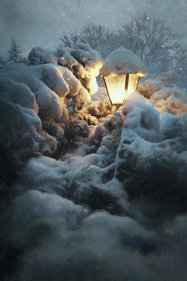 Streetlamp In The Snow Photograph