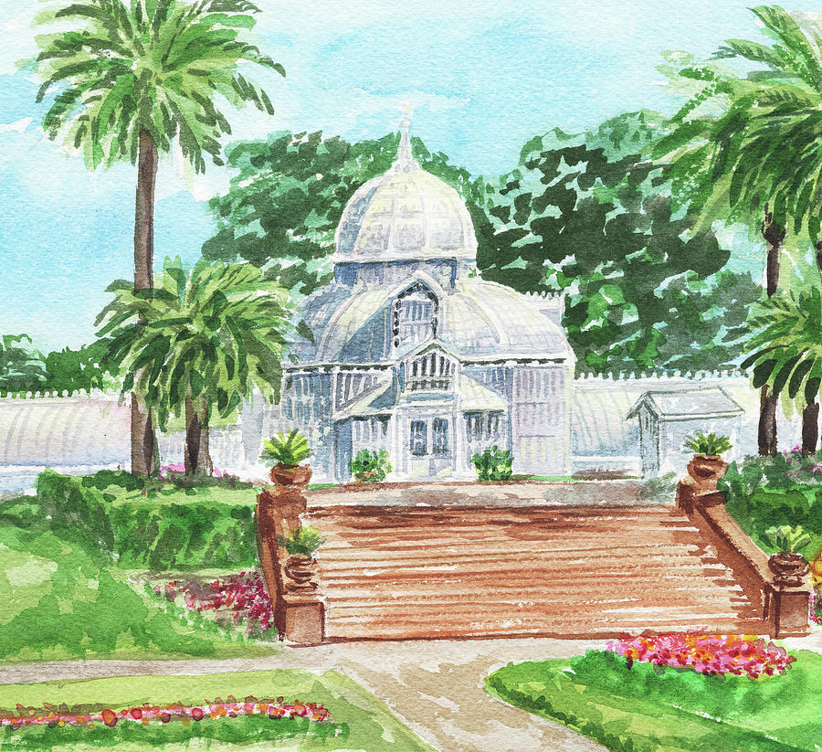 Sunny Day Conservatory Of Flowers Watercolor Painting