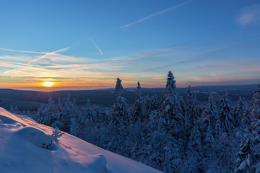 sunset in the Harz National Park, Germany Photograph