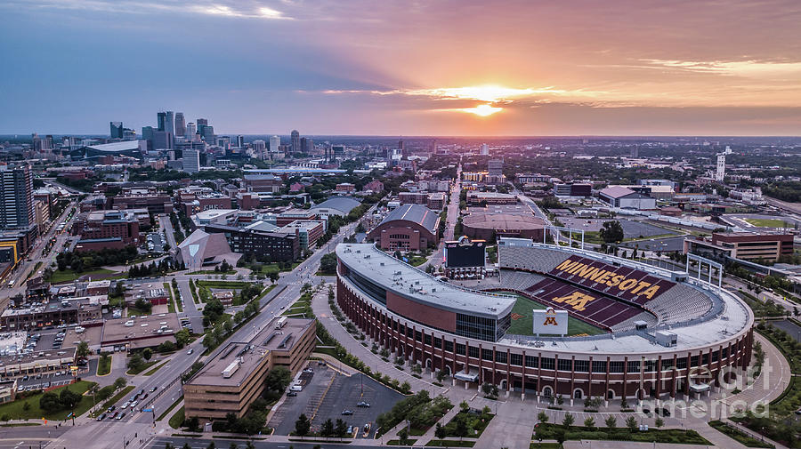 Tcf Bank Stadium At Sunset Photograph