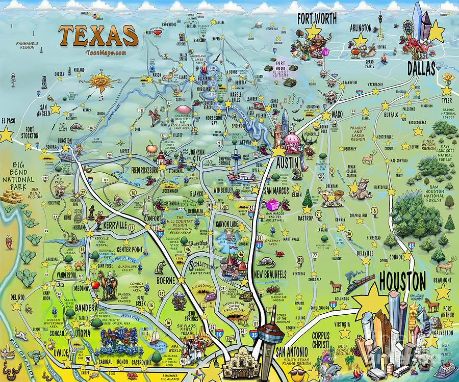 Texas Big Fun Map Digital Art