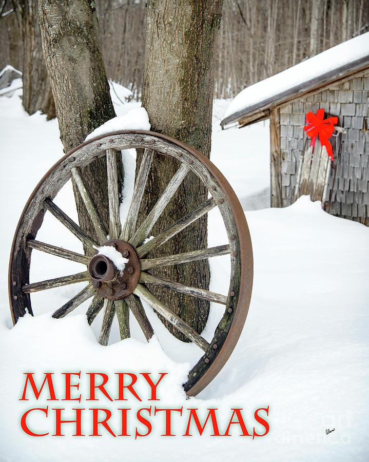 Wagon Wheel Merry Christmas Card Photograph
