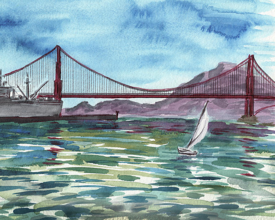 Watercolor Of San Francisco Bay And Golden Gate Bridge Painting