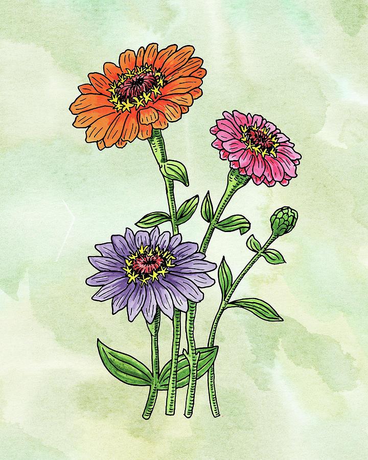 Watercolor Orange Pink Purple Zinnia Flowers Painting
