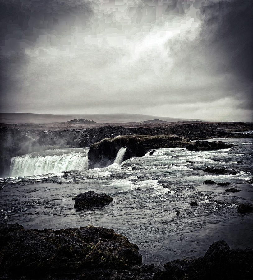 Waterfall Of The Gods Black And White Photograph