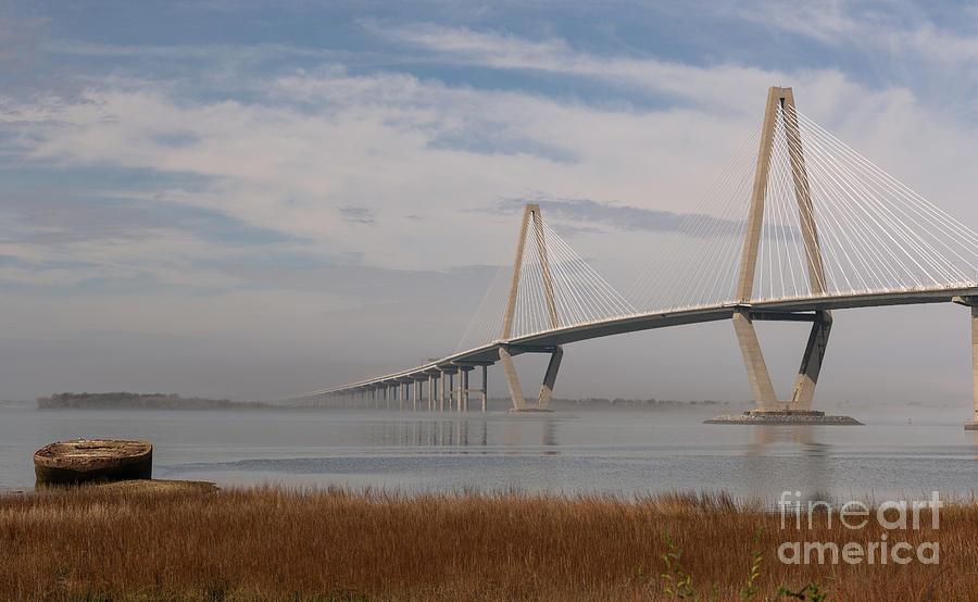 Winter Fog - Arthur Ravenel Bridge - Charleston South Carolina Photograph
