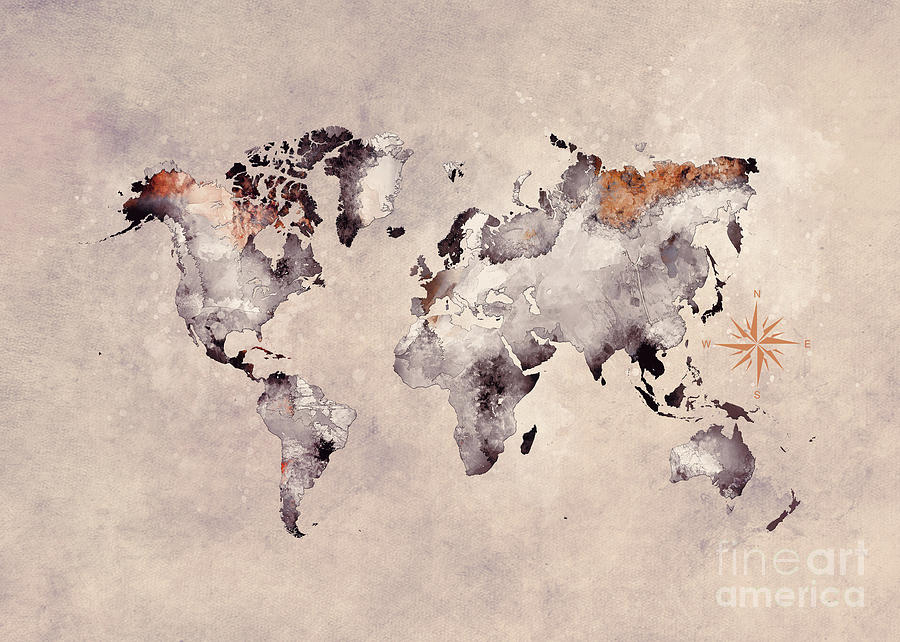 World Map Grey Brown Digital Art