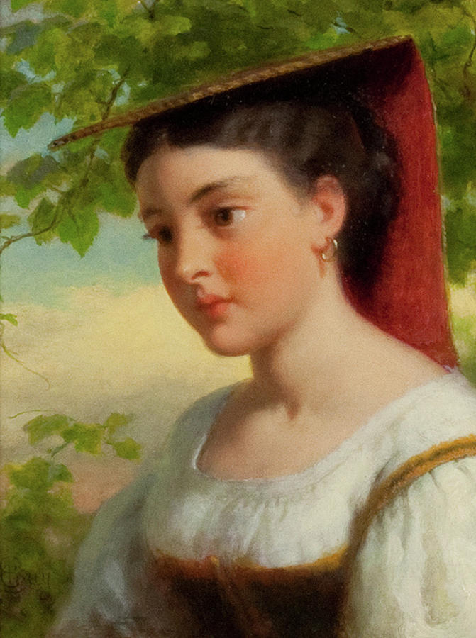 Young Woman In Traditional Italian Dress Painting