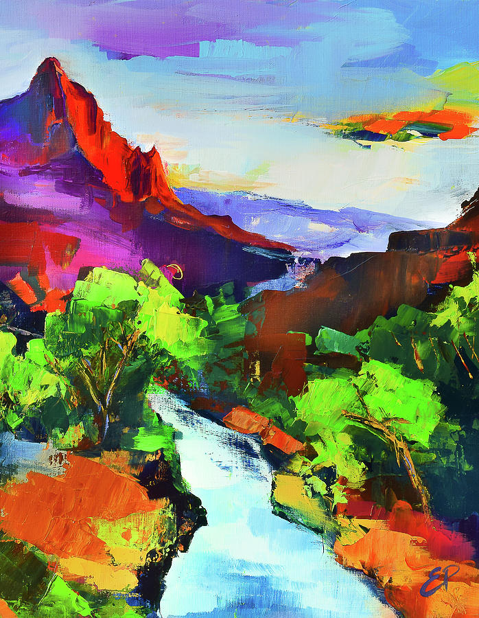 Zion - The Watchman And The Virgin River Painting