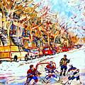 Hockey Game On Colonial Street  Near Roy Montreal City Scene by Carole Spandau