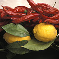 Lemons And Dried Red Peppers  For Sale by Richard Nowitz