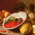 Still Life Of Raspberries Lemons And Asparagus  by Italian School