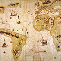 Vespucci's World Map, 1526 by Granger