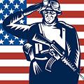 American Soldier Saluting Flag by Aloysius Patrimonio