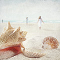 Beach Scene With People Walking And Seashells by Sandra Cunningham