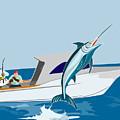 Blue Marlin Jumping by Aloysius Patrimonio