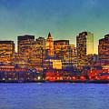 Boston Skyline Sunset Print by Joann Vitali