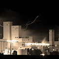 Budwesier Brewery Lightning Thunderstorm Image 3918  Bw Sepia Im by James BO  Insogna