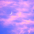 Crescent Moon Behind Cirrus Cloud In The Evening by Gordon Wood