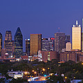 Downtown Dallas Skyline at Dusk Print by Jeremy Woodhouse